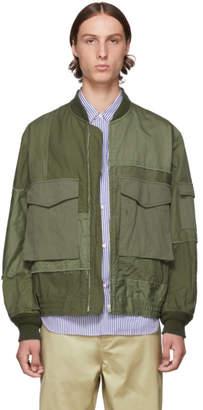 Comme des Garcons Homme Khaki Herringbone Bomber Jacket
