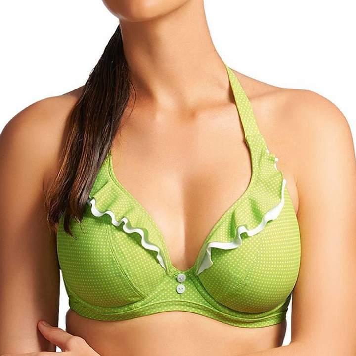 Lime Green Cherish Underwired Banded Halter Bikini Top
