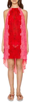 Ted Baker Macaufa Happiness Pleated Halter Dress Swim Cover-Up