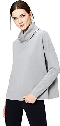 Daily Ritual Women's Terry Cotton and Modal Funnel Neck Pullover
