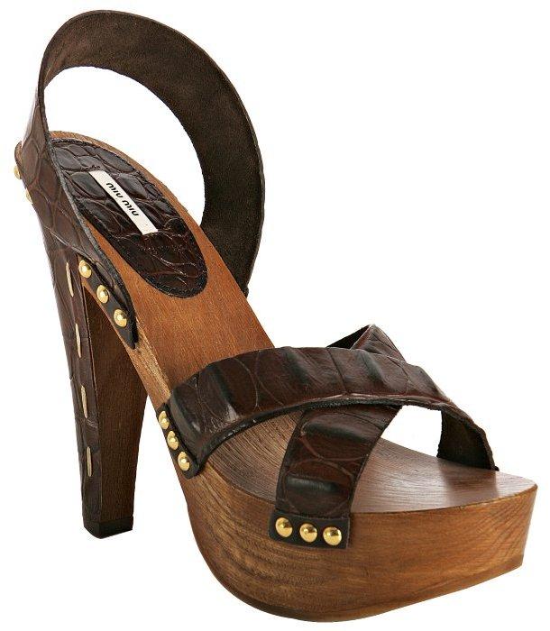Miu Miu Miu brown croc print calfskin platform sandals