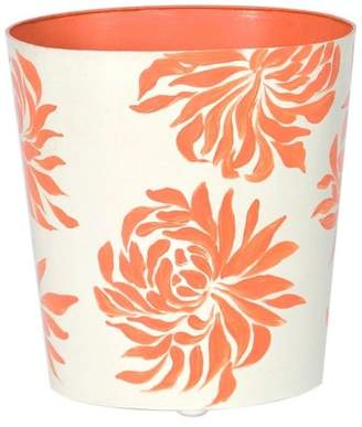 Worlds Away Oval Floral Wastebasket