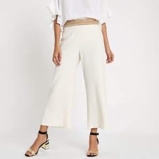 River Island Womens Cream stud trim wide leg cropped pants