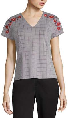 Liz Claiborne Womens V Neck Short Sleeve Ponte Embroidered Plaid Blouse
