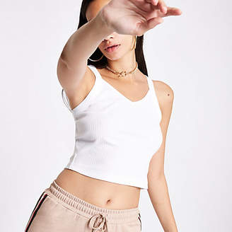 River Island White ribbed V neck crop cami top