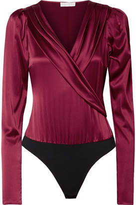 Caroline Constas Berdine Wrap-effect Stretch-silk Satin Thong Bodysuit - Burgundy
