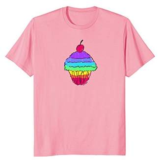 Abstract Cupcake T-Shirt | Rainbow Colored Cupcake