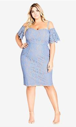 City Chic Citychic Lace Whisper Dress - blue