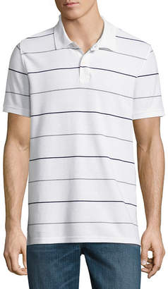ST. JOHN'S BAY Short Sleeve Slim Fit Easy Care Quick Dry Stripe Pique Polo Shirt