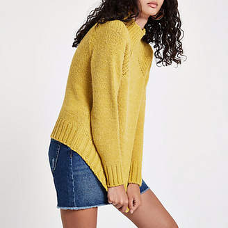 River Island Yellow high neck chunky knit sweater