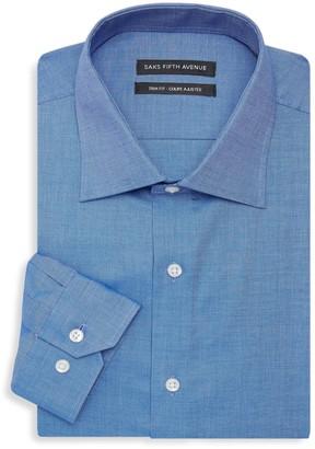 Saks Fifth Avenue Trim-Fit Chambray Dress Shirt