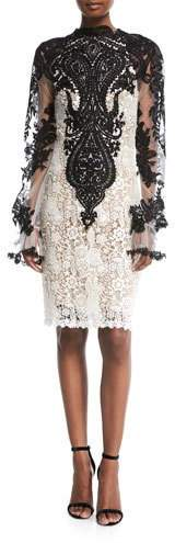 Naeem Khan High-Neck Long-Sleeve Knee-Length Lace Cocktail Dress