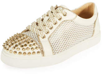 Christian Louboutin AC Viera Spikes Red Sole Low-Top Sneakers