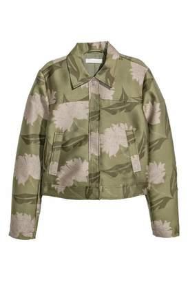 H&M Jacquard-patterned Jacket - Green/floral - Women
