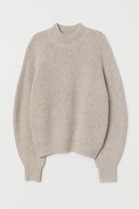 H&M Knit Mock-turtleneck Sweater - Beige
