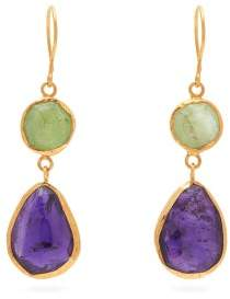 Pippa Small Turquoise Mountain - Zahir Gemstone 18kt Gold Plated Earrings - Womens - Multi
