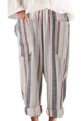 3b2bc87beee Sevozimda Womens Linen Pants Straight Leg Plus Size Stripes Loose Harem  Trousers S