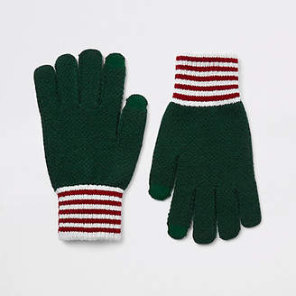 River Island Green knitted cuffed gloves