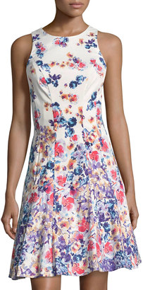 Maggy London Floral-Print Fit & Flare Dress, Purple Pattern $89 thestylecure.com