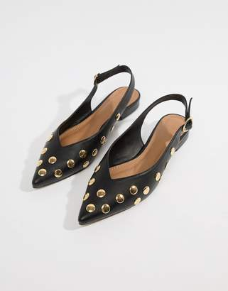 858242f1c67 ... Asos DESIGN Lasca high vamp studded pointed ballet flats