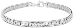Diamonique Channel Set Tennis Bracelet,Sterling Silver