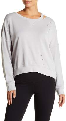 Betsey Johnson Distressed Slit Knit Pullover