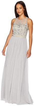 Adrianna Papell Sleeveless Illusion Bead Bodice with Crinkle Chiffon Skirt Women's Dress