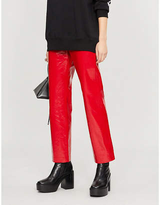 MSGM Straight high-rise patent faux-leather trousers