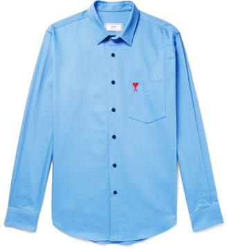 Ami Slim-Fit Embroidered Cotton-Twill Shirt
