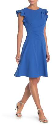 London Times Ruffle Sleeve Pleated Fit & Flare Dress