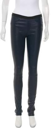 Helmut Lang Leather Mid-Rise Skinny Pants
