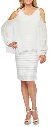 Scarlett Long Sleeve Cold Shoulder Embellished Cape Sheath Dress