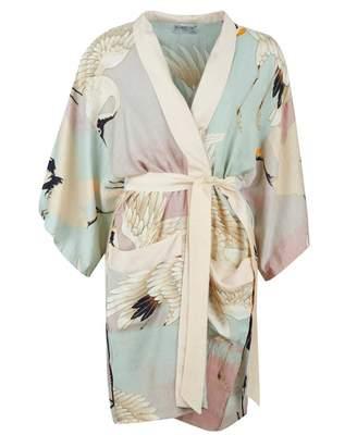 One Hundred Stars Stork Kimono With Collar Colour: AQUA, Size: One Siz