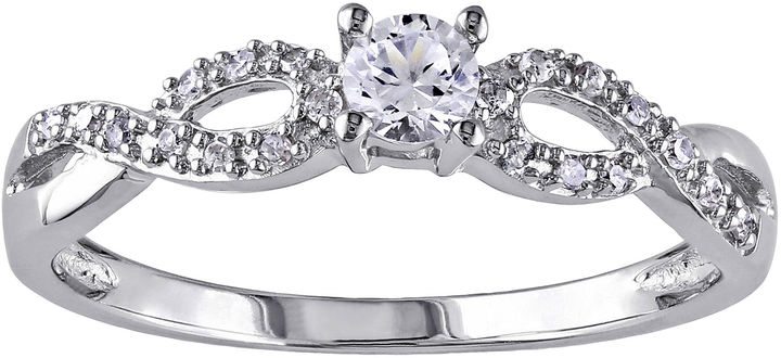 JCPenney FINE JEWELRY 1/10 CT. T.W. Diamond & Lab-Created White Sapphire Engagement Ring