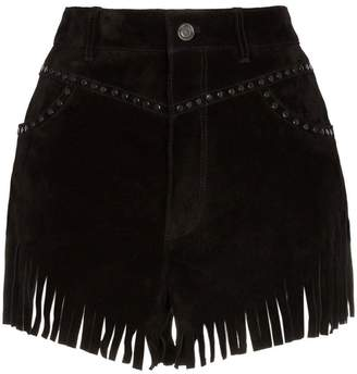 Saint Laurent fringed stud embellished suede shorts
