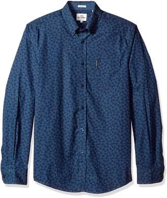 Ben Sherman Men's Long Sleeve Soho Print Party Shirt