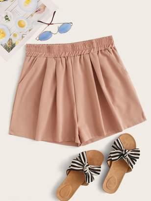 Shein Solid Elastic Waist Wide Leg Shorts