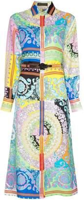 Versace Long-sleeve patterned belted silk shirt dress