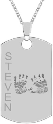 Sterling Handprint Dog Tag Pendant w/ Chain