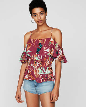 Express Floral Smocked Waist Top