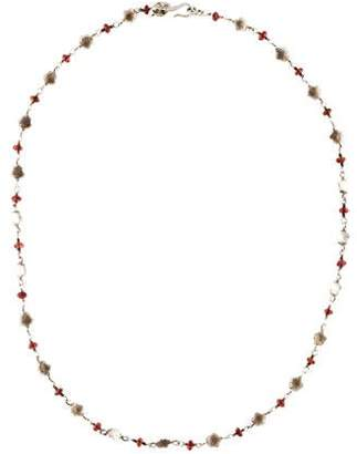 Me & Ro Me&Ro Garnet Floral Chain Necklace