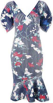 Salvatore Ferragamo structured ribbed print dress