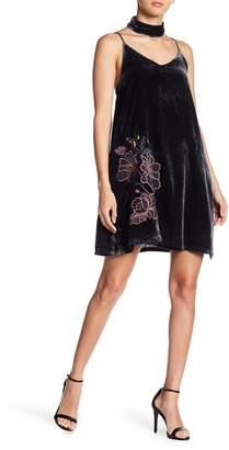 J.o.a. Choker Embroidered Velvet Mini Dress