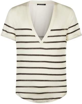 Balmain Deep V-Neck Striped T-Shirt
