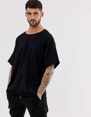 Asos Design DESIGN oversized t-shirt with raw neck in black