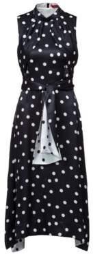 HUGO Boss Sleeveless polka-dot dress two-tone belt 2 Patterned