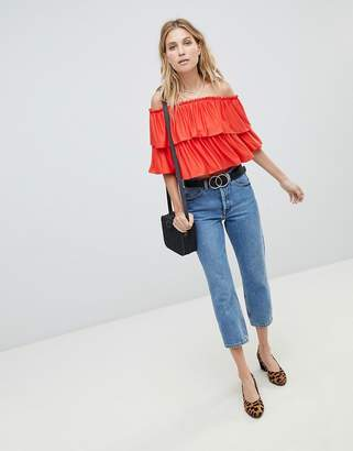 Bardot Asos Design ASOS DESIGN Crop Top With Slinky Ruffle
