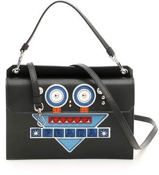 Prada Saffiano Mini Bag With Robot Patch