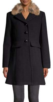 Kate Spade Wool Twill Faux Fur Car Coat