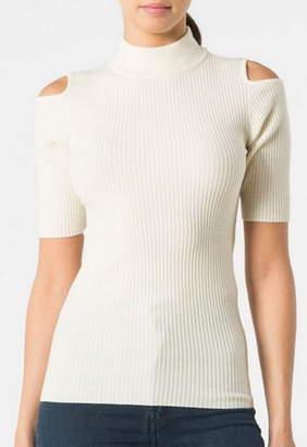 Autumn Cashmere Cold Shoulder Short Sleeve Turtleneck